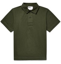 Margaret Howell Mhl Twill Trimmed Cotton Jersey Polo Shirt Green