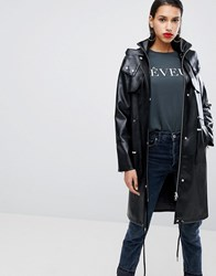 Neon Rose Parka In Faux Leather Black