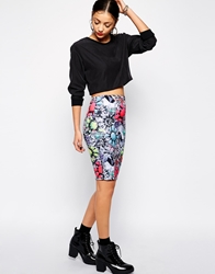 Jaded London Neon Jewel Print Midi Skirt Multi