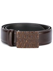 Eleventy Embossed Buckle Belt Brown