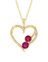 Lord And Taylor Diamonds Ruby 14K Yellow Gold Heart Shaped Pendant Necklace Red