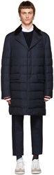 Moncler Gamme Bleu Blue Fur Trimmed Down Jacket