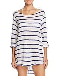 Splendid Stitch Stripe Tunic Swim Cover Up Navy
