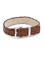 Tateossian Sterling Silver And Woven Leather Bracelet Brown