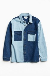 Urban Outfitters Uo Heavyweight Colorblocked Denim Button Down Shirt Indigo