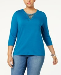 Inc International Concepts Anna Sui Loves Plus Size Lace Up Top Created For Macy's True Teal