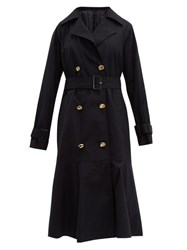 Tibi Double Breasted Cotton Trench Coat Navy