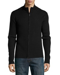 Neiman Marcus Ribbed Zip Front Sweater Black