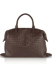 Bottega Veneta Intrecciato Leather Tote Dark Brown