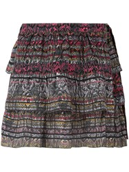 Iro Snake Print Tiered Skirt Women Silk Cotton 36 Pink Purple