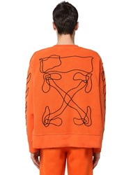 Off White Printed And Embroidered Cotton Sweatshirt Orange
