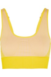 Adidas By Stella Mccartney The Seamless Climalite Stretch Sports Bra Mustard