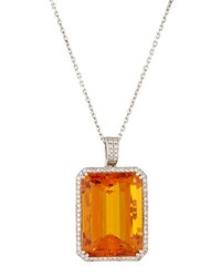 Diana M. Jewels 18K Emerald Cut Citrine And Diamond Pendant Necklace 2.15Tcw