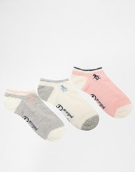 Penguin 3 Pack Trainer Socks In Cable Knit Grey Cream