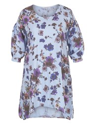 Chesca Floral Print Puff Sleeve Linen Tunic Blue Multi