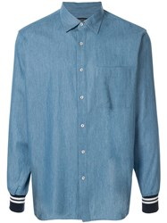 Loveless Ribbed Trim Denim Shirt Blue