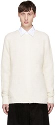 Saturdays Surf Nyc White Miguel Waffle Knit Sweater