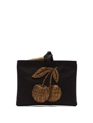 Sanayi 313 Ciliega Embroidered Faille Clutch Black Gold