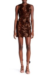 Topshop Leopard Faux Fur Shift Dress Multi