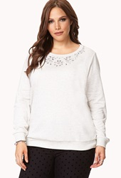 Forever 21 Touch Of Glam Rhinestone Sweatshirt Oatmeal