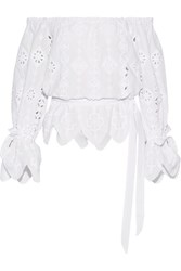 Miguelina Aurelia Off The Shoulder Broderie Anglaise Cotton Top White