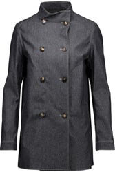 Valentino Double Breasted Denim Coat Dark Denim