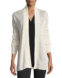 Vince Linen Blend Open Front Cardigan White