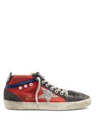 Golden Goose Mid Star High Top Canvas Trainers Red Silver