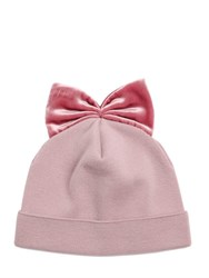 Federica Moretti Ribbed Wool Hat With Velvet Bow