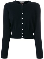N.Peal Cropped Contrast Button Cardigan Black