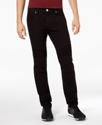 Armani Exchange Men's Slim Straight Fit Stretch Moto Jeans Solid Black
