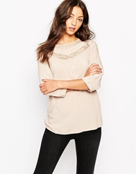 Vero Moda 3 4 Sleeve Tunic With Lace Detail Mushroom