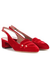 Tabitha Simmons Exclusive To Mytheresa.Com Ines Velvet Sling Back Pumps Red