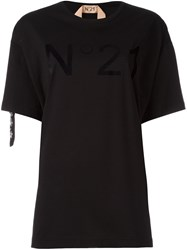 N 21 No21 Crystal Embellished Logo T Shirt Black