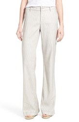 Women's Nydj 'Claire' Linen Blend Wide Leg Trousers Macrame Print Tan