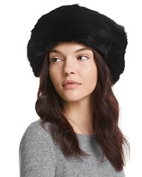 Surell Rabbit Fur Cuff Hat Black