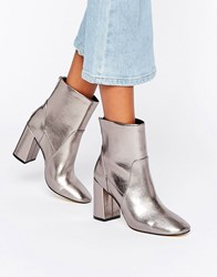 New Look Metallic Heeled Ankle Boot Gunmetal Pewter Silver