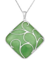 Macy's Sterling Silver Necklace Jade Swirl Overlay Pendant