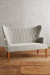 Anthropologie Velvet Wingback Bench Light Grey