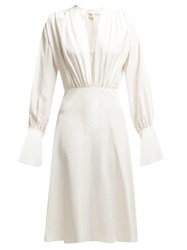 Khaite Connie Satin Crepe Dress White