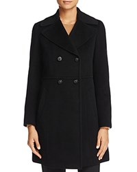 Cole Haan Double Breasted Notched Collar Coat Black