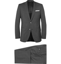 Hugo Boss Grey Checked Super 120S Virgin Wool Suit Gray