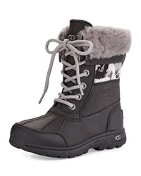 Ugg Butte Ii Backcountry Camo Trim Leather Boots Black Youth