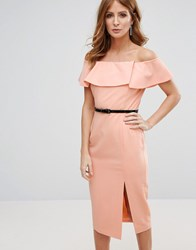 Millie Mackintosh Belted Pencil Dress Peach Pink