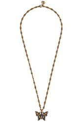 Gucci Gold Tone Crystal Necklace