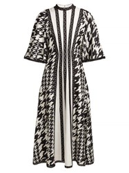Andrew Gn Houndstooth Print Silk And Lace Midi Dress Black White