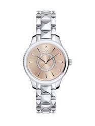 Christian Dior Dior Viii Montaigne Diamond Mother Of Pearl And Two Tone Stainless Steel Bracelet Watch Silver Pink
