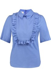 Stella Jean Ruffled Cotton Blend Poplin Top Sky Blue