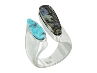 Robert Lee Morris Turquoise And Abalone Ring Multi Ring