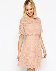 Asos Lace Mini Prom Dress Nude Pink